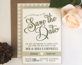 Rustic Wedding Save the Date | Wedding Announcement | Whimsical | Typography | Emma Range | SAMPLE