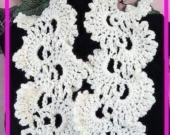 Crochet pattern scarf num 207 Simplified QUEEN ANNE'S LACE, Cowl, Neckwarmer, Collar or Scarf. sell your finished items