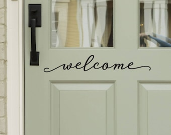 Modern Farmhouse Style Front Door Decals - Welcome Decal for Door or Entryway Decor -WB411 & Door decal   Etsy