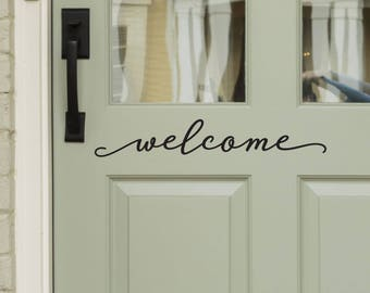 Modern Farmhouse Style Front Door Decals - Welcome Decal for Door or Entryway Decor -WB411