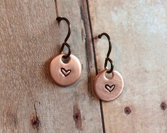 Miniature Heart Earrings, Copper with Niobium Hypoallergenic Ear Wires for Sensitive Ears, ON SALE