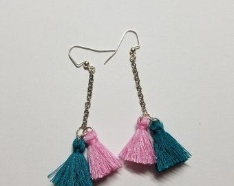 Pink and turquoise mini tassel earring