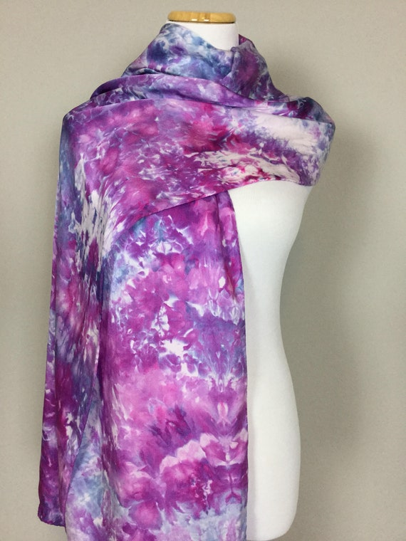 "100% Silk WRAP Purple Blue Hydrangea Artistic Floral Watercolor Office Scarf 22""x90"" Elegant Rectangle Office Wrap #188"