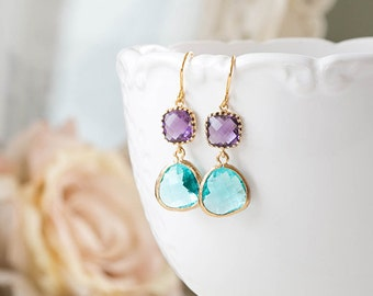 Purple and Aqua Blue Earrings in Gold Amethyst Purple Earrings Aqua Blue Teardrop Glass Dangle Earrings Purple and Blue Wedding Earrings