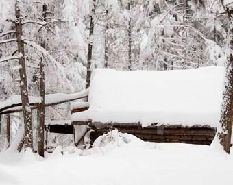 Log Cabin Wall Art, Log Cabin Decor, Winter Wall Art, Snow Wall Art, White Wall Art, Rustic Wall Art, Fine Art Photography – Winter Cabin