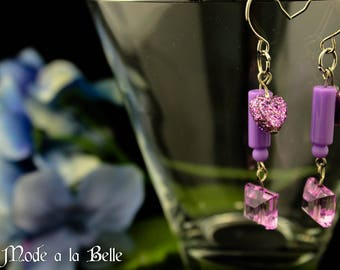 Purple Sparkle Heart and Crystal Dangle costume earrings