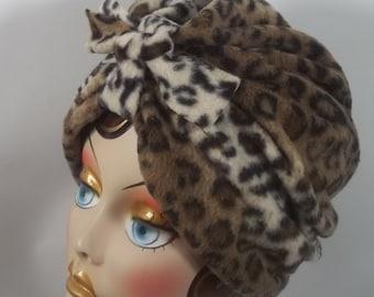 Polar fleece, fashion turban, hat, brown, animal print, full turban, winter, vintage style, designer.Size Sm, Med, L, XL. Free ship. in USA.