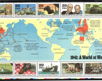 World War II 1991 Postage Stamps UNUSED A World at War WWII 1941