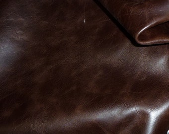 "Leather 8""x10"" RIVIERA Dark Chocolate Brown aniline dyed Pull-up effect Cowhide 2.5-3 oz /1-1.2 mm PeggySueAlso™ E2932-04"
