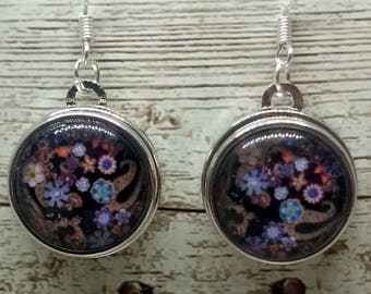 Black Floral Glass Cabochon Earrings with 925 Sterling Silver Wire Hooks