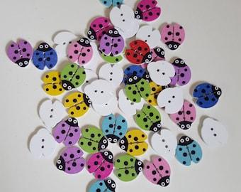 Set of 10 wood Ladybug buttons