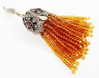 Large Long Amber Quartz Stone Stone Beaded Tassel with Crystal Accents - Antique Bronze - 1PC