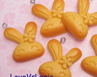 2 Puff Bunny Baked Biscuit Lucite Charms.01