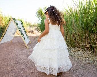 Boho Flower Girl Dress, First Communion Dress, White Lace Dress, Rustic Flower Girl, Ruffle Dress, Shabby Chic Dress, Savannah