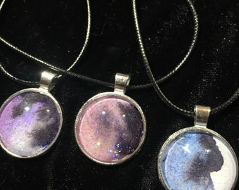 Watercolor necklaces cabochon glitter sparkly unique handcrafted glass colorful jewelry