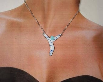 enamel on copper, silver plated chain necklace