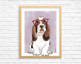 Dog Art Print, Basset Hound Art, Basset Hound Wall Art, Dog Lover Gift, Pet Portrait, Dorm Decor, Home Decor, Nursery Art