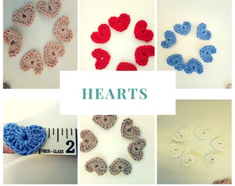 6+2 free Little Heart, Small Hearts, Little Crochet Hears, Applique Hearts,blue hearts,red hearts, pink hearts, small applique