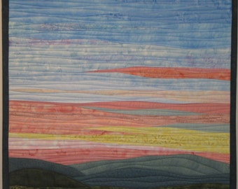 Art Quilt Landscape Sunrise 5 over Hills, Wall Hanging, Nature are quilt