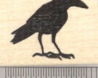 Raven Rubber Stamp, Silhouette Crow, Blackbird D25523 Wood Mounted
