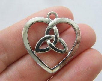 BULK 20 Celtic knot heart charms silver tone R153