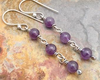 Purple Dangle Earrings - February Birthday - Amethyst Gemstone - February Birthstone Earrings - Everyday Earrings - Sterling Silver #4750