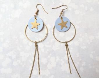 Earrings hoops iridescent blue leather, gold stars, chain, graphics, chandelier earrings, geometric.