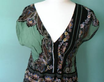 Floral Print Boho Dress Tunic in Green and Black