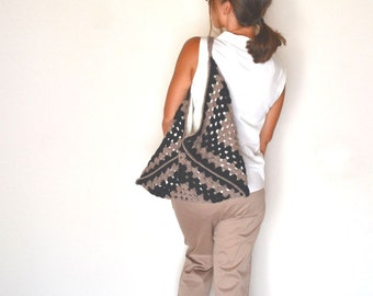 Granny Square Bag 41% OFF Crochet Shoulder Handbag Black Mauve Pink Boho Hobo Purse