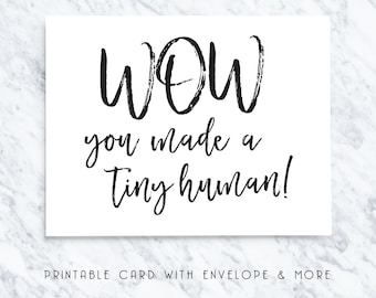 printable baby card, new baby card, tiny human card, digital baby card, download baby card, instant baby card