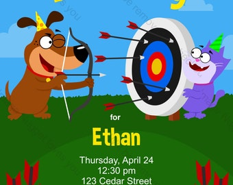 Archery Birthday Party Invitation - printable birthday invite for a boys or girls archery or bow and arrow party to hit the bullseye