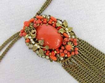 Vintage Miriam Haskell - esque Assemblage Necklace, Natural Coral, Wired, Metal Tassel, Unsigned
