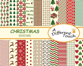 Merry Christmas Digital Paper 20 Sheets Scrapbook For Personal And Commercial Use High Quality - Instant Download