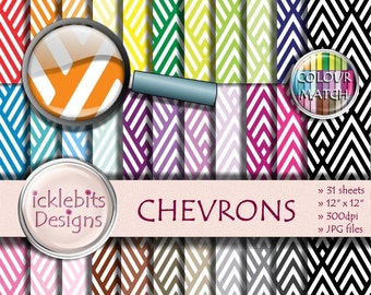 "Chevron Digital Paper Pack ~ ""CHEVRONS"" ~ 31 Sheets ~  patterned digital paper ~ PU and CU Scrapbooking Paper ~ Rainbow Paper ~ Design #100"