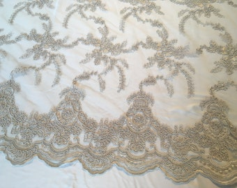 13 yards @15 per Yard - Grey Chantilly Corded Embroidered Lace