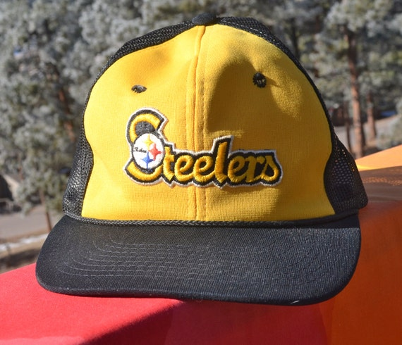 new arrival ad663 911c1 ... czech vintage 80s trucker hat pittsburgh steelers nfl football two tone snapback  baseball cap black gold