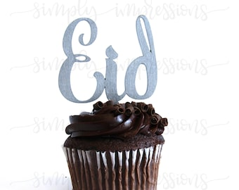Eid Wooden Cup Cake Topper Eid 1/8 Thick 9 Finishes-Ramadan Eid Decoration.