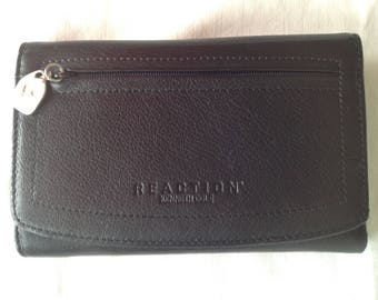 MINT Kenneth Cole Reaction black french wallet silver tone hardware
