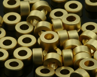 round tube 10 pcs  6 x 3 mm (  3 mm hole) gold plated brass finding charm bab3 777