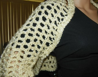 Cropped Sweater Silky  Ivory  Sizes Small-XXLarge  Hand Crochet