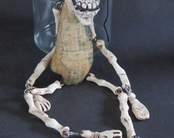 OOAK Klopp Kids Original Extreme Primitive Gothic Skull Skeleton Doll Day of the Dead Goth Macabre Art Creepy Curiosity Cabinet Oddity
