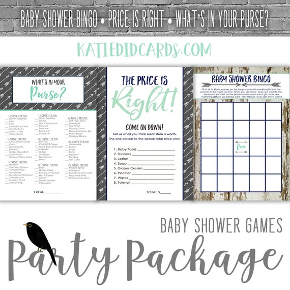 baby shower party package Rustic oh boy Tribal Arrow Coed Game BINGO Price is Right What's in your Purse gray mint navy | 12120 Katiedid
