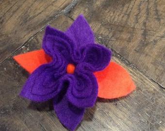 Orange and purple felt and Swarovski crystal flower brooch
