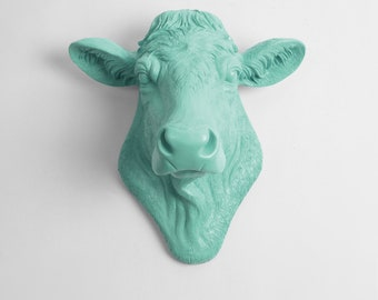 Cow Head Decor by White Faux Taxidermy - The Bessie in Seafoam - Cow Head Wall Mount - Farm Animal - Cattle Decor - Farmhouse Wall Decor