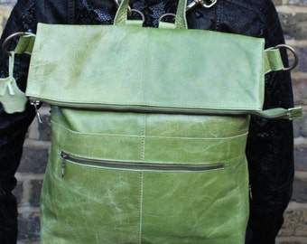 Belgian Apple Green Leather Convertible Backpack