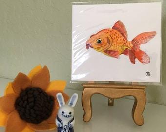 Mini original watercolor painting of a rud goldfish. Small original artwork fish the perfect lighthearted gift. Wildlife art home decor