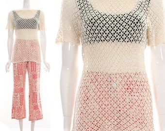 CROCHET Top // Knit Shirt // Cream // Open Weave