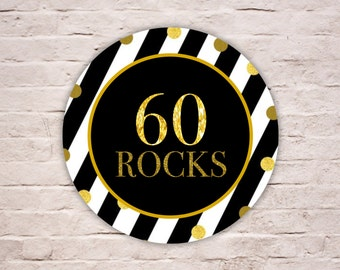 Digital 60 ROCKS Labels, Black and White Stripes Birthday Labels, SIXTY ROCKS Gold Glitters Party Favor Tags, Envelope Seals, Diy Printable