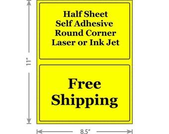 Standard Yellow Shipping Labels 8.5x5.5 Half Sheet Self Adhesive Etsy PayPal Stamps USPS InkJet Laser Free Same Day Shipping