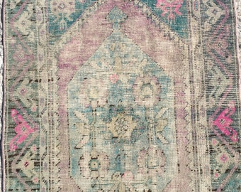 4 ft x 2 ft 4 in ( 123 x 72 cm ) Free shipping Turkish vintage rug pastel rug old rug anatolian rug  oushak rug small rug